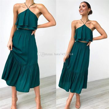 2 Piece Set Women Summer Dress 2019 Sexy Off Shoulder Long Party Dress Backless Strapless Black Green Ruffles Midi Dress