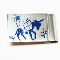 Southwestern Money Clip - Man on Donkey - Inlaid Turquoise Chips - Signed Mexico Alpaca Silver Tone - Vintage 1960's 1970's Gift For Him