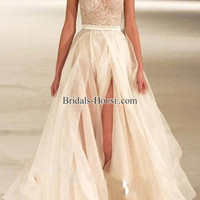 sleeveless lace long amazing tulle prom dress - bridals-houses.com
