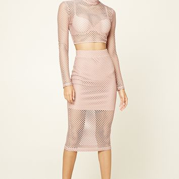 Open-Mesh Layered Midi Skirt