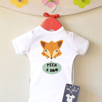 Fox Baby Girl Bodysuit with Cute Fox Print - Peek A Boo Baby Romper Cute Kids Apparel Baby Shower Gift