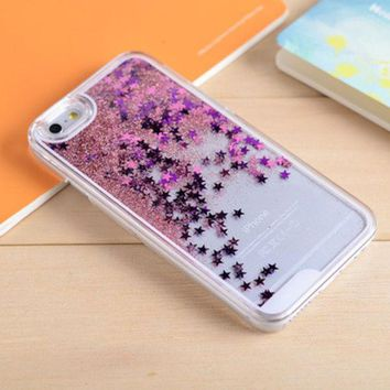 LMFEJ6 Pink Star Dynamic Liquid Glitter Sand Quicksand Star Bling Clear iPhone 5/5S Phone Case