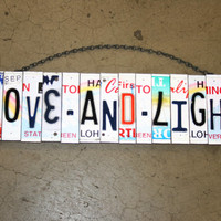 Recycled. Love. License Plate. Room Decor. Sign. Wall hanging. Custom Name. Handmade.Family name. door hanging
