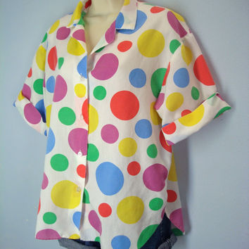 Vintage 80s Polka Dot Shirt / Dotted  Slouchy Blouse / Soft and Thin