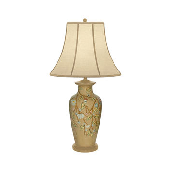 """Beautiful Porcelain Trailing Vine Floral Table Lamp 32"""" with Shade"""