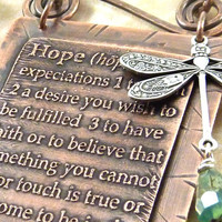 Hope Etched Copper Necklace Dictionary Words Dragonfly Aqua Beads