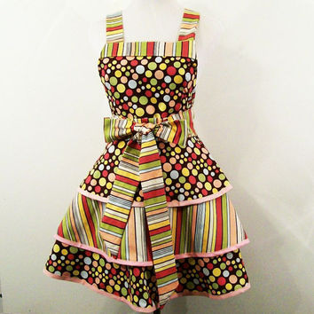 Women's 3 tier Full Apron--Brown Dots and Stripes -Made in the Usa---READY TO SHIP--#107
