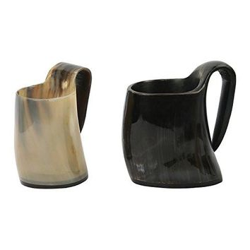 Set of 2 Whiskey Shot Glasses Real Horn Mug Cup Ale Beer Wine Glass Goblet from Handicrafts Home USA