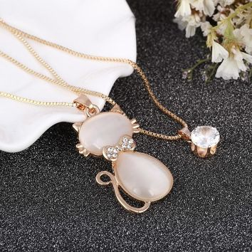 Lovely Cat Design Pendant Double Chain Necklace Synthetic Rhinestone Bow Design Gold-color Long Chain Necklaces&Pendants