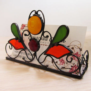 Business card holder Stained glass Gift for her Vintage style Handmade Unique souvenir in technique Tiffany Home decor Gift idea for teacher