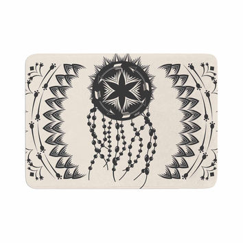 "Famenxt ""Bohemian Dream Catcher Boho"" Black Beige Memory Foam Bath Mat"