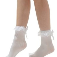 ANKLET Socks Ruffled Bow 3 Color Options Red Pink or White Color: White