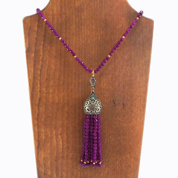 Ethnic Turkish Tassel Necklace Violet Purple Facet Jade Gemstone Statement Gypsy Hippie Bohemian Artisan - One Of A Kind