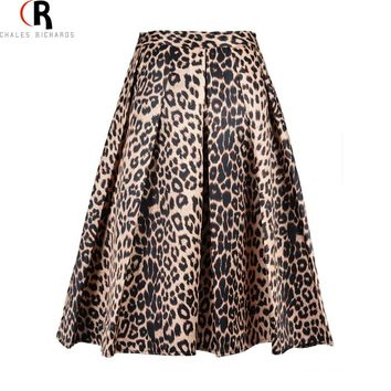 2017 Spring New Women Satin Leopard Print High Waist Pleated Long Puff Midi Skirt Size S XL Large In Stock Free Shipping