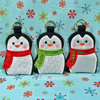 Penguin Gift Card Money Holders, Christmas Colors Set of 3