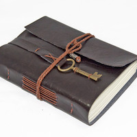 Vegan Dark Brown Faux Leather Journal with Key Charm Bookmark