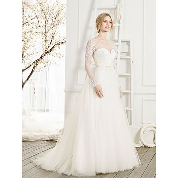 Beloved by Casablanca Bridal Cherish Long Sleeve Lace Ball Gown Wedding Dress
