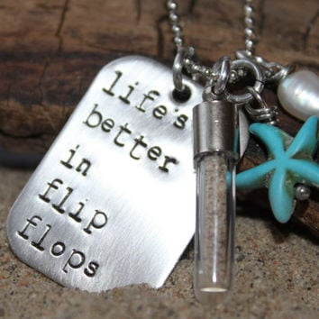 Beach themed Hand Stamped Necklace Life's by StampedFrosting