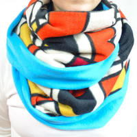 Fleece Infinity Scarf, Turquoise & Mondrian Print in Orange Black Yellow Red, Big Oversized Chunky Scarf, Winter Scarf, Back to School, Gift