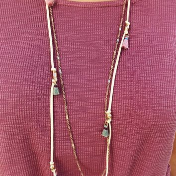 Tassels Layered Necklace: Gold/Multi