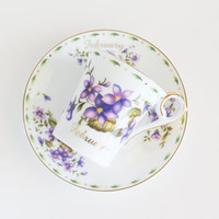 February Purple Violets Cup and Saucer Set