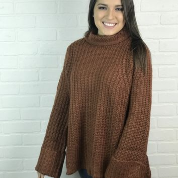Rust Over sized Knit Mock Neck Sweater