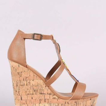 Bamboo Beadwork Cork Platform Wedge