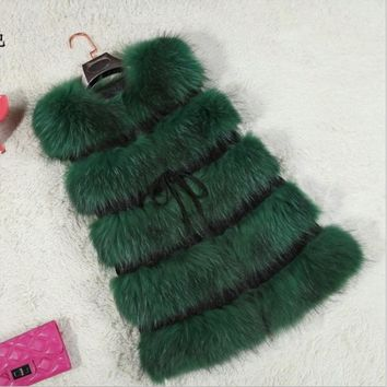 Best Faux Fur Vest Women's Genuine Raccoon Fur Leather Jacket Overcoat Girl's Fox Fur Vest Coat