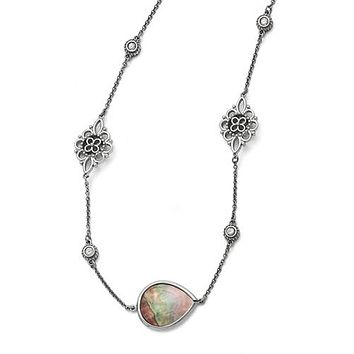 "Stainless Steel Black Mother of Pearl and CZ 24-27"" Long Necklace"