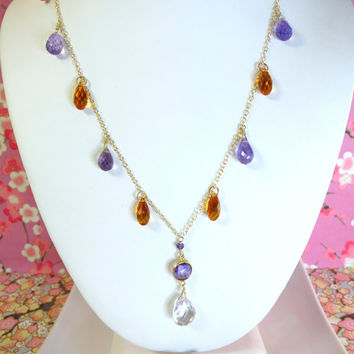 Purple and orange gold drop necklace with pink amethyst