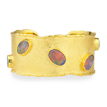 Gold Cuff with Australian Black Opals
