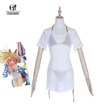 Cool ROLECOS Tamamo no Mae Cosplay Swimsuit Game Fate Grand Order Swimwear Costume Japanese Anime Fate Extra Cosplay Costumes PartyAT_93_12