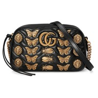 """Gucci"" Women Fashion Insect Animal Modeling Rivet Mini Metal Chain Single Shoulder Messenger Bag Small Square Bag"