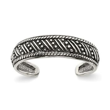Sterling Silver 5mm Antiqued Pattern Toe Ring