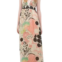 Coral V-Neck Sleeveless Floral Maxi Dress