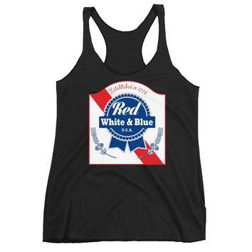 Red White & Blue PBR 4th Of July - Women's Tri Blend Racerback Tank Top - Various Colors