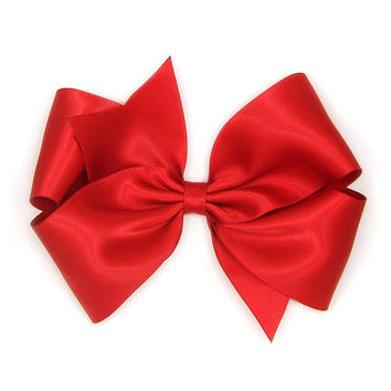 Red Satin Hair Bow, 6 Inch Hair Bow, Big Satin Bow, Extra Large Boutique Bow, King Size Bow, Holiday Hair Bow Women Girls 39 Colors