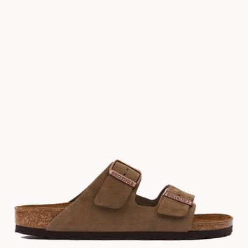 Birkenstock Taupe Arizona Soft Footbed Suede Sandals | Womens Shoes | AKIRA