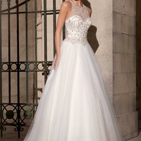 Mori Lee 2711 Sheer Back Beaded Ball Gown Wedding Dress