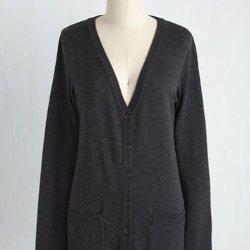 Have a Good Knit Cardigan in Charcoal | Mod Retro Vintage Sweaters | ModCloth.com