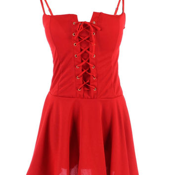Red Dresses Corset Tie Front Gothic Revival Style Skater Spaghetti Strap Mini Party Dress