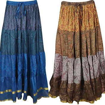Mogul Womens Long Skirts Vintage Sari Full Flare Tiered Belly Dance Maxi Skirts 2 Wholesale Lot