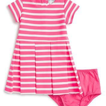 Ralph Lauren Stripe Ponte Knit Pleated Dress (Baby Girls) | Nordstrom