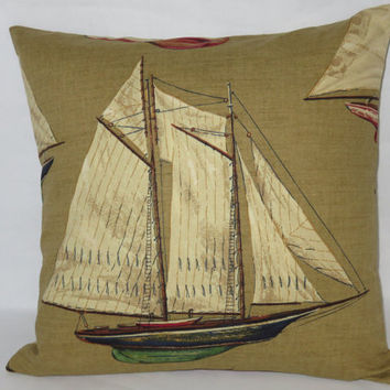 "Sailboat Toile Pillow, Vintage Look, 18"" Square, Blue Green Red Tan, Sailing Yachting Nautical, Cover Only Or Insert Included, Ready Ship"