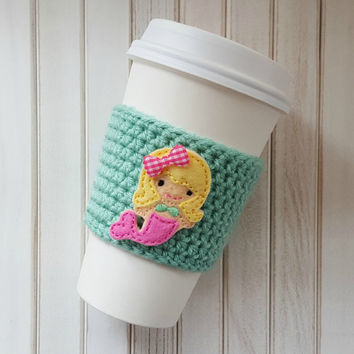 Coffee Cozy - Coworker Gift - Birthday Gift - Coffee Cup Sleeve - Mint and Coral Gift - Beer Sleeve - Coffee Gift Ideas -  Mermaid Cozy