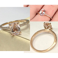 Custom made 6x8mm Oval Cut Gemstone Engagement Ring 14K Rose/White/Yellow Gold!Diamond Wedding Bridal Band,Claw Prongs,Birthstone ring,pave