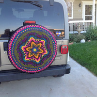 Boho Tire Cover~Custom~Crochet Jeep-CRV-FJCruiser-RAV4 Cover