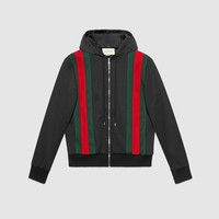 Gucci Technical jersey bomber with hood