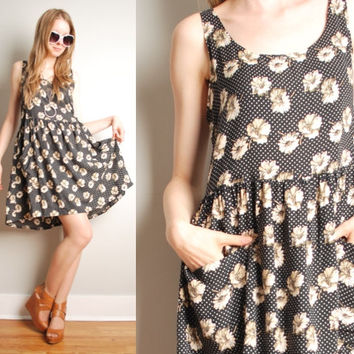 vintage 90s dress daisy floral print babydoll grunge black beige mini dress M