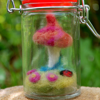miniature mushroom, woodland scene, felted mushroom, box art, cute, woodland display, felted display, felted box art, cute mushroom, nursery
